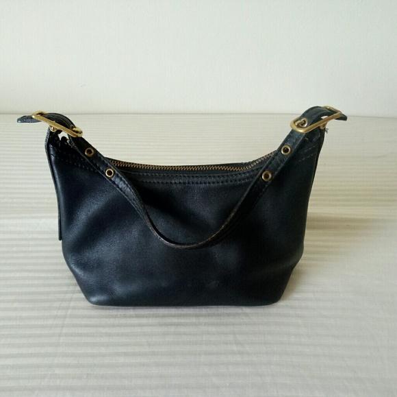 Coach Handbags - Coach plain black mini leather hobo bag